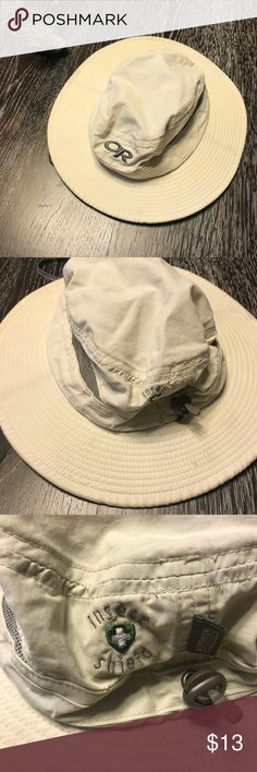 "Outdoor Hat Brand: OUTDOOR RESEARCH Sentinel brim hat with ventilation to keep you cool. Aka ""adventure hat"". Color: sand UPF 30 fabric for protection from the sun.  Insect Shield to protect against mosquitoes ticks and other biting insects. First photo is stock photo of item, the rest are of the true item. Good used condition. Worn only a few times and washed once. Easy care: hand wash and leave to dry. Outdoor Research Accessories Hats"