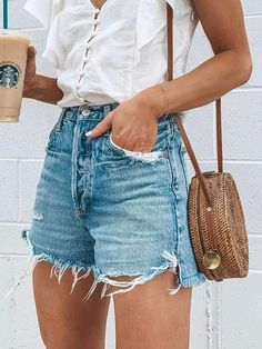 Description: Material: Denim Pattern: Solid Color Length: Short Season: Summer Style : Casual , Fashion Occasion: Daliy Color: Light Blue Size: S, M, L, XL Pac Blue Ripped Jeans, Blue Denim, Denim On Denim, Denim Fashion, Fashion Outfits, Fashionable Outfits, Fashion Hacks, Fashion Quotes, 90s Fashion