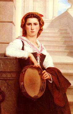 """Pierre-Auguste Cot (Pierre Auguste Cot) (1837-1883) La Bohemienne Oil on canvas 1871 111.8 x 76.2 cm (44.02"""" x 30"""")"""