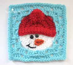 This cute and cozy snowman square is perfect for winter or holiday decor items - try it in a pillow of afghan! Get the free pattern by Repeat Crafter Me and make it with Vanna's Choice (pictured in white, scarlet, aqua, and a bit of black and terracotta) and a size H crochet hook.