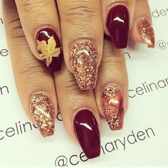 Burgundy glitter and maple leaf nails #nailart #thanksgiving #womentriangle
