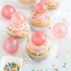 Bubble gum frosting cupcake