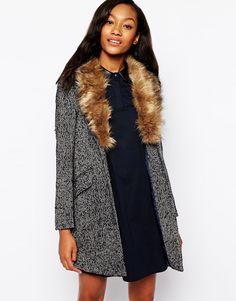 Image 1 ofWarehouse Tweed Faux Fur Collar Coat