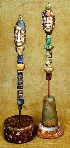 Art doll totems by Maureen Carlson