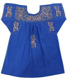 Blue Blouse with Gold Thread details - Handmade Embroidery - available at azucarmaria.com Handmade Products, Spring Summer 2016, Blue Blouse, Cyber, Mall, Shops, Community, Couture, Embroidery