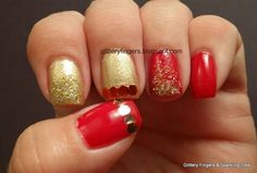 Glittery Fingers & Sparkling Toes: Red and Gold Sequin and Gradient Mani