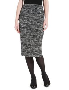 M Collection Knee Length Space Dye Pencil Skirt with Wool-Marks & Spencer