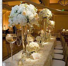 tall wedding centerpieces with hydrangeas Pearl Centerpiece, Vintage Centerpieces, Wedding Reception Centerpieces, Candle Centerpieces, Reception Decorations, Wedding Table, Wedding Ideas, Wedding Advice, Centerpiece Ideas
