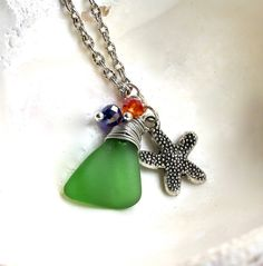 Sea Glass Necklace with silver starfish charm by MermaidTearsDesigns, $25.00