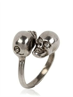 Alexander McQueen Twin Skull Brass Ring