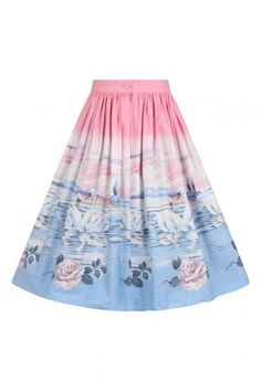 Printed cotton skirt Print is of swans and roses on a pink, white and blue background Waistband in self fabric The skirt has pockets in the side seams Back zip & button fastening Fabric content: 10 50s Skirt, Blue Backgrounds, Printed Cotton, Swan, Tie Dye Skirt, Clothing, Skirts, Fabric, Pink