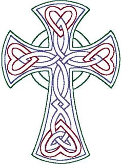 Japanese Embroidery Designs redwork Celtic Trinity knot cross embroidery design by anita Celtic Patterns, Celtic Designs, Cross Designs, Cross Stitch Patterns, Machine Embroidery Designs, Embroidery Patterns, Hand Embroidery, Embroidery Tattoo, Zentangle Patterns