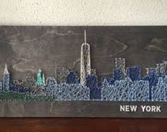 string art nyc new york city skyline statue of liberty times square rustic and weathered. Black Bedroom Furniture Sets. Home Design Ideas