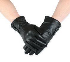Premium Ladies Short Gloves - Black with Button Trim