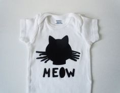 black, kitty, cat, baby, onesie, bodysuit, clothing, animal, meow, whiskers, feline fine, trendy, hipster, gift, eco friendly, applique - pinned by pin4etsy.com
