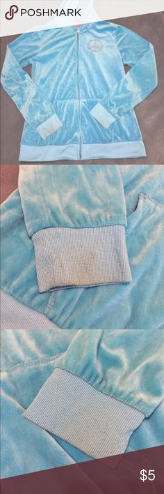💙NEW LISTING💙 Hard Candy zip up hoodie Used condition, but lots of love to give! 2 pictures show a small amount of discoloration on cuffs of sleeves. I'm a S/M and wore this a bunch. Turquoise color. Hard Candy Shirts & Tops Sweatshirts & Hoodies