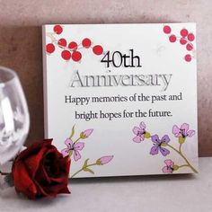 Ruby Wedding Anniversary Floral Sentiments Wall Plaque