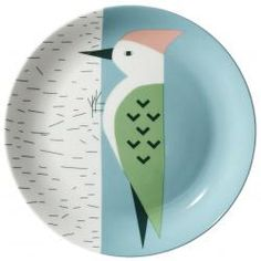 Woodpecker Plate by Donna Wilson. bone china, made in the UK Ceramic Plates, Ceramic Pottery, Pottery Painting Designs, Keramik Design, Paint Your Own Pottery, Plate Design, Deco Table, Deco Design, Ceramic Painting