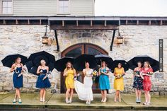 Neat - mismatched bridesmaids, BHLDN Flamenca gown on bride   CHECK OUT MORE IDEAS AT WEDDINGPINS.NET   #weddings #bridesmaids #wedding #weddingbridesmaids #events #forweddings #iloveweddings #romance #beauty #planners #maidofhonor