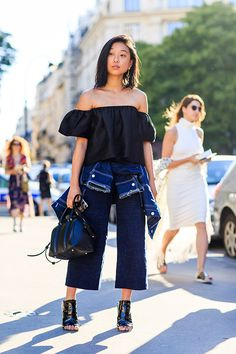 Cool denim #MargaretZhang. Paris Street Style: 2015 Couture | Sup3rb