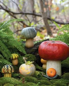 Toadstool Pumpkins - Nestle the toadstools among rocks and trees, and add a jack-o'-lantern and snail. Your yard will be set for Halloween visitors. Fete Halloween, Outdoor Halloween, Holidays Halloween, Halloween Pumpkins, Halloween Crafts, Halloween Decorations, Halloween Tricks, Fall Decorations, Halloween Ideas