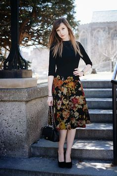 Chic of the Week: Black floral midi skirt, Chanel bag.