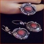 Sterling Coral Vintage Ring Earring Set Navajo Southwest Jewelry