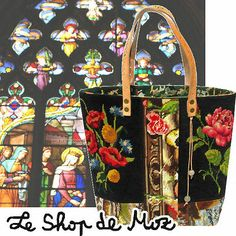 a french needlepoint tote bag