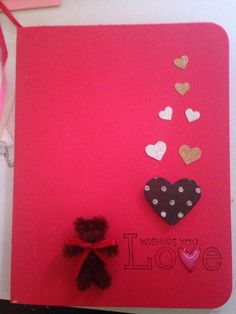 Valentine's card with pipe cleaner bear Valentines, Bear, Cards, Valentine's Day Diy, Valentines Day, Bears, Maps, Valentine's Day, Playing Cards