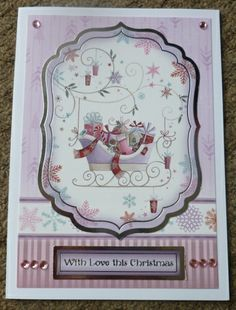Hunkydory handmade christmas card, with gems