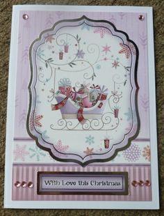 Hunkydory handmade christmas card, with gems