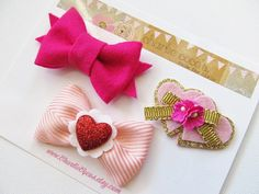 Girls/Baby Hair Clip SetValentine's Day Hair Clips by CharlieCocos, $16.95