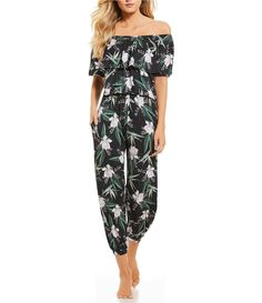 4c64ca452fe Antonio Melani Dark Garden Floral Print Ruffle Off-The-Shoulder Jumper  Swimsuit Cover-Up
