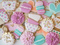 "432 Likes, 15 Comments - Cami Hess (@camiscookiejar) on Instagram: ""Tea time! #sugarcookies #decoratedcookies #customcookies #desserts #teaparty #macarons…"""