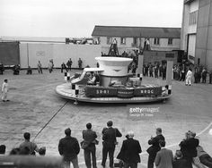 The Saunders Roe SRN-1 hovercraft on display at Cowes, Isle of Wight.