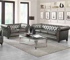 Dark Gray Faux Leather Sofa Loveseat Traditional Design Living Room Set - Grey Sofas - Ideas of Grey Sofas - Dark Gray Faux Leather Sofa Loveseat Traditional Design Living Room Set Price : Leather Sofa And Loveseat, Tufted Couch, Faux Leather Sofa, Sofa And Loveseat Set, Couch Set, Living Room Sofa Design, Living Room Sets, Living Room Designs, Small Table And Chairs