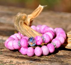 Pink multi-hued beaded bracelet with crystal accent by BeadRustic