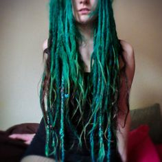 dreads, dreadlocks, and green hair image