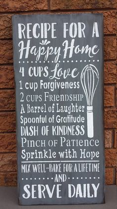 RECIPE For a HAPPY HOME/Kitchen Sign/Christmas Gift