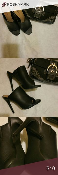 JustFab heels Cute just fab open toed pumps pre loved but great condition. JustFab Shoes Heels