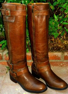 "Sexy Enzo Angiolini ""Easaylem"" Brn Leather Knee High Harness Zip Riding Boot 6.5 on eBay!"