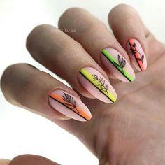 Simple Gel Nails, Classy Nails, Stylish Nails, Neon Nail Art, Neon Nails, Pastel Nails, Minimalist Nails, Glitter Gel Nails, Nail Manicure