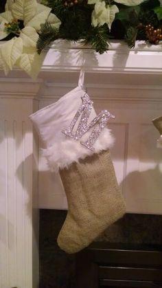 Burlap stocking with Santa hat fur trim :)