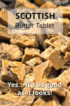 Scottish Tablet Recipe Scottish tablet is a variation on the better-known fudge, and is even more delicious! Try this traditional scottish tablet recipe and you'll be hooked! Fudge Recipes, Candy Recipes, Baking Recipes, Sweet Recipes, Cookie Recipes, Dessert Recipes, Delicious Desserts, Scottish Tablet Recipes, Hp Sauce