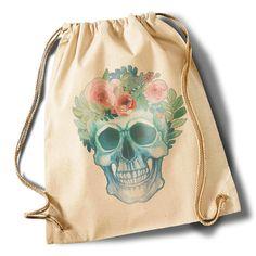 """""""Hippie skull"""" Cotton Gymsack von MAD IN BERLIN auf DaWanda.com"""