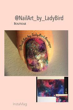 Instagram photo by:  @NailArt_by_LadyBirdBoutique  #nails #glambag #ipsy #nailart Galaxy nails