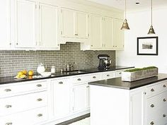 white kitchen grey subway tile soapstone - Google Search