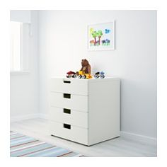 IKEA - STUVA, Storage combination with drawers, white/white, , Low storage makes it easier for children to reach and organise their things.Can be used either free-standing or wall-mounted.Stands steady also on uneven floors since adjustable feet are included.The drawer fronts have rounded corners and a cut-out handle with smooth edges.