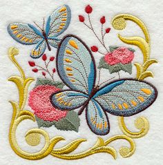 Victorian Flutterby  Embroidered Terry by forgetmeknottreasure, $18.00, Pretty pretty work. Would love to have them all.