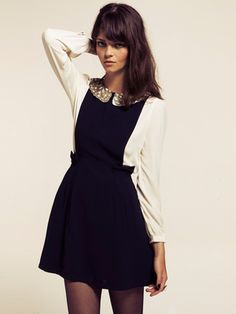 Dahlia Maisy Navy Pinafore Dress with Bow Detail ($100-200) - Svpply